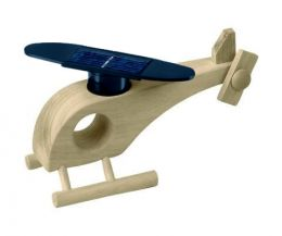 Solar-powered wooden helicopter (natural)