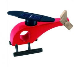 Solar-powered wooden helicopter (red)